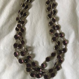 Banana Republic Necklace - Purple gems and gold